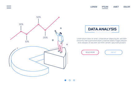 Business analysis- line design style isometric web banner