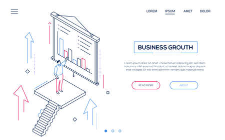 Business growth - line design style isometric web banner