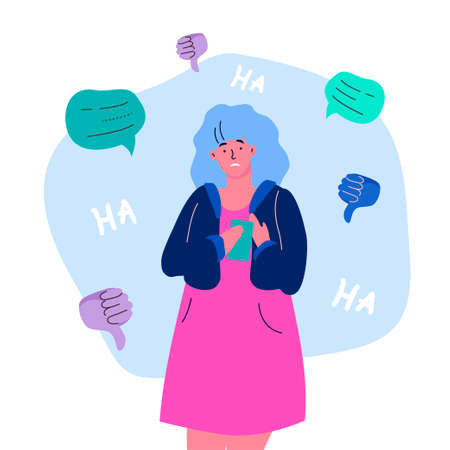 Bullying - modern colorful flat design style illustration on white background. A composition with a sad girl feeling guilty or being mocked on the Internet, getting negative comments or feedback