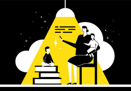 Family reading - flat design style conceptual illustration. Black, yellow and white trendy composition with characters, mother sitting on chair and children, books, lamp. Education, hobby concept