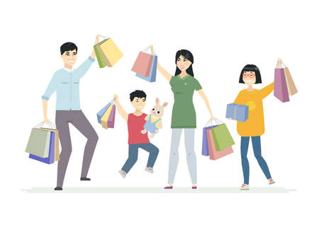 Happy Chinese family enjoys shopping - cartoon people characters illustration on white background. Smiling parents with children, teenagers carrying bags, presents, jumping with joy, waving hands
