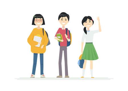 Chinesische Schulkinder - Zeichentrickfilm-Figurenillustration auf weißem Hintergrund. Qualitätskomposition mit glücklichen Teenagern, einem Jungen und Mädchen, Studenten mit Rucksäcken, die zusammenstehen, die Hände winken