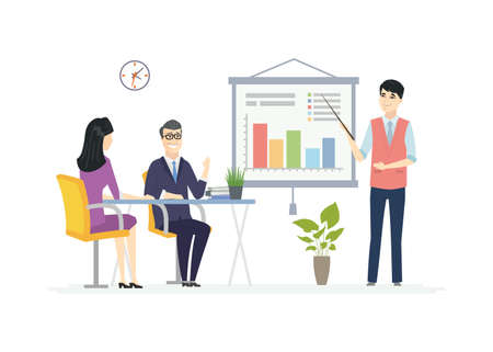 Business Meeting - modern vector cartoon characters illustration. A composition with Chinese office workers at the desk, a young male manager showing diagrams on the flip chart, making a presentation 矢量图像