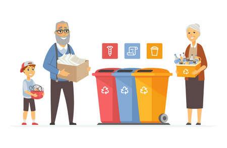 Concepto de reciclaje - ilustración de personajes de dibujos animados modernos personas. Composición colorida de alta calidad con abuelos y un niño sacando basura a contenedores de diferentes colores. Clasificación de residuos, tema ecológico Ilustración de vector