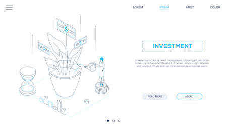 Investment - line design style isometric web banner