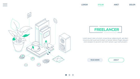 Freelancer - line design style isometric web banner on white background with copy space for text. A header with a male specialist working at the laptop, images of books, speaker, cup of tea, email
