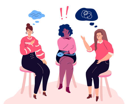 Group therapy - modern colorful flat design style illustration on white background. A composition with unhappy women sharing their emotions and feelings. Psychological problems concept