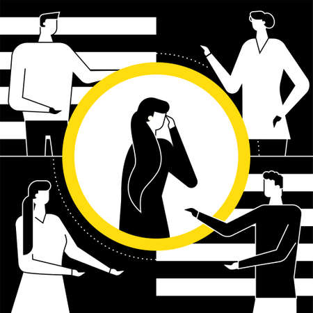 Shame - modern vector flat design style illustration. Black, white and yellow composition with a girl feeling ashamed, standing alone in the circle of attention. Psychological problems concept Illustration