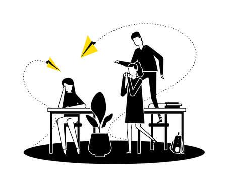 Mobbing - moderne Vektorgrafik im flachen Design. Schwarz-weiß-gelbe Komposition mit einem traurigen Mädchen, das allein am Schreibtisch sitzt, Teenager, Klassenkameraden, die sich über sie lustig machen und Papierflieger werfen Vektorgrafik