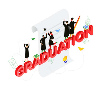 Graduation concept - modern colorful isometric vector illustration on white background. A composition with international students in academic caps celebrating, image of a certificate, diploma, books Ilustração