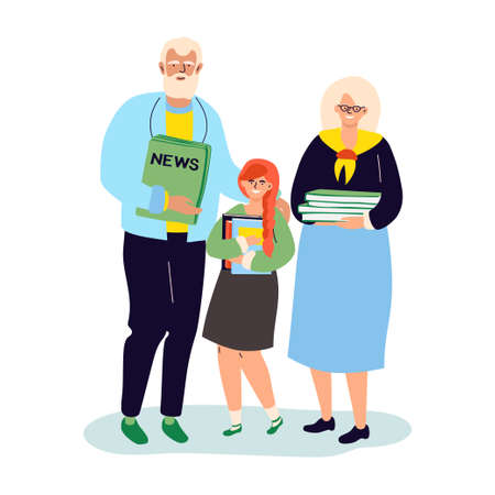Recycling - modern colorful flat design style illustration. High quality composition with senior man and woman with a granddaughter holding recyclables, papers, old books, newspapers. Eco concept  イラスト・ベクター素材