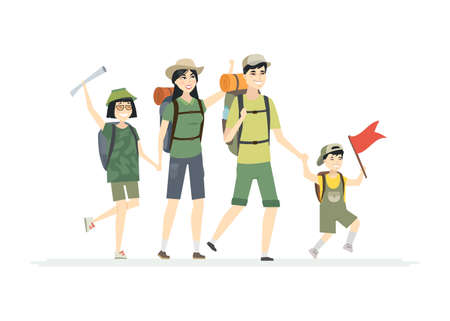 Family goes hiking - cartoon people characters isolated illustration on white background. Young parents with children are on vacation camping in special outfit, carrying backpacks, sleeping mats