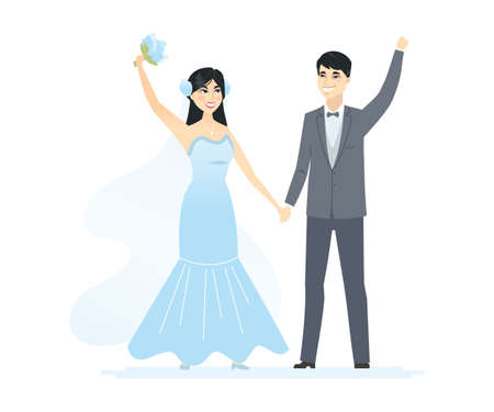 Newly married Chinese couple - cartoon people characters isolated illustration on white background. Happy wife and husband holding hands. A pretty woman in a white dress with a bouquet, man in a suit