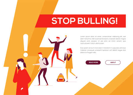Stop bullying - colorful flat design style web banner