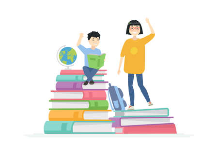 Chinese school children - cartoon people characters illustration on white background. A composition with happy teenagers, a boy and girl on a pile of books, reading, waving hands. Education concept
