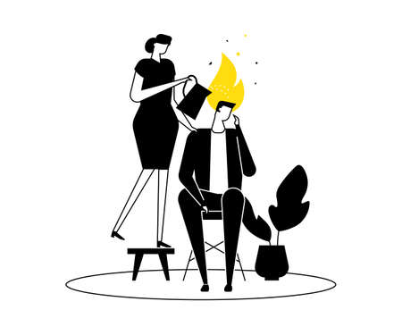 Emotional burnout - modern flat design style illustration. Black, yellow and white composition with a man on fire, a woman, colleague pouring water on his head to calm him down. Stress at work concept