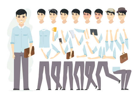 Chinese man - vector cartoon people character constructor isolated on white background. Set of different face expressions, poses, gestures for animation, hats, glasses, bags, tablet, a cup of tea