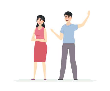 Chinese couple argument - cartoon people character illustration Illustration