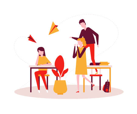 Bullying - modern colorful flat design style illustration on white background. A sad girl sitting alone at the desk, teenagers, classmates mocking her, throwing paper planes. Problems at school theme