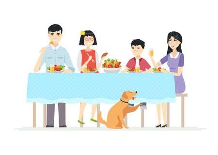 Famiglia cinese felice che cena insieme - illustrazione moderna dei caratteri della gente del fumetto su fondo bianco. Giovani genitori con due bambini seduti a tavola, mangiando insalata, cibo sano Vettoriali