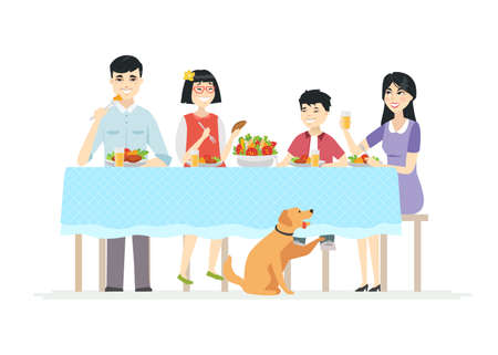 Happy Chinese family having dinner together - modern cartoon people characters illustration on white background. Young parents with two children sitting at the table, eating salad, healthy food  イラスト・ベクター素材