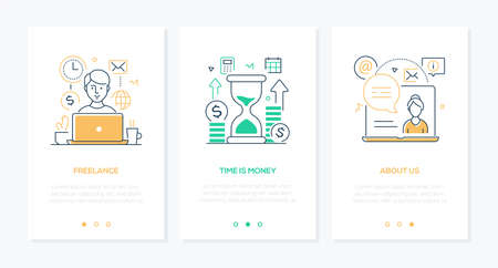 Business and finance - set of line design style vertical web banners on white background with copy space for text. Images of a worker, laptop, hourglass, coins. Freelance, time is money, about us Illustration