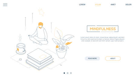Mindfulness - line design style isometric web banner on white background with copy space for text. A header with a man sitting in lotus position, trying to relief stress at work. Meditation concept Illustration