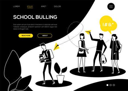 Mobbing in der Schule - Webbanner im flachen Design