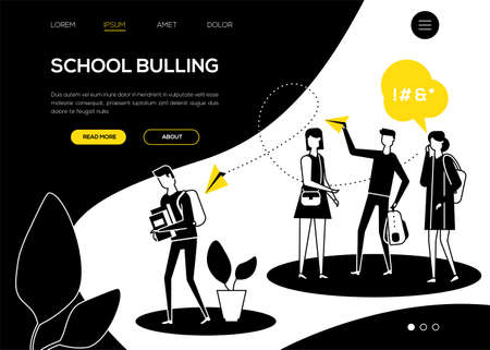 School bullying - flat design style web banner