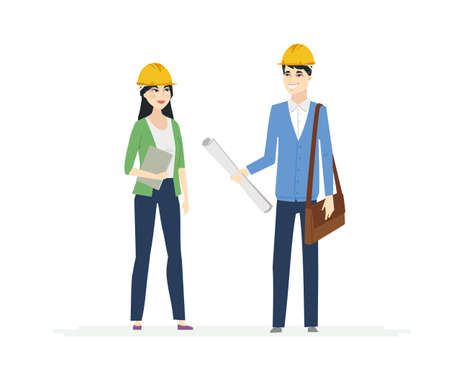 Chinese Construction Workers - cartoon people characters illustration on white background. High quality colorful composition with male and female architects in casual clothes, helmets, discussing a project