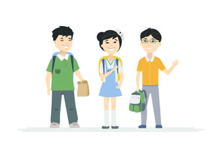 Chinese School Children - cartoon people characters illustration on white background. Quality composition with happy little boys and a girl, students with backpacks waving hands and smiling