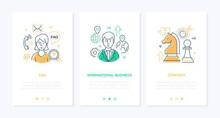 Business and finance - set of line design style vertical web banners with copy space for text. Images of businessman, call center operator, chess knight. FAQ, international communication, strategy