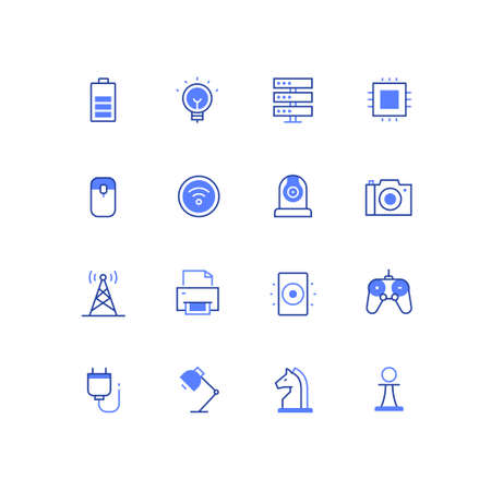 Business and technology - line design style icons set