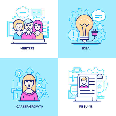 Business - set of line design style colorful illustrations. Pink and blue images of a team, laptop, lightbulb, female manager, resume. Meeting, idea, career growth, HR management concepts