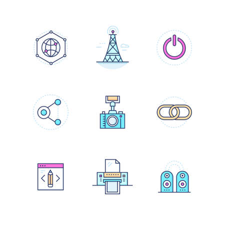Modern technology - colorful line design style icons set Illustration