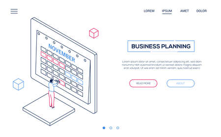Business planning - line design style isometric web banner