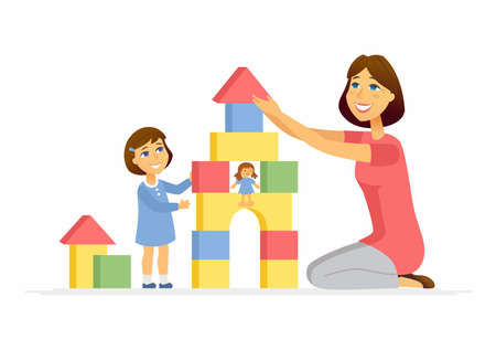 Mother and daughter playing - cartoon people characters illustration Stock Illustratie