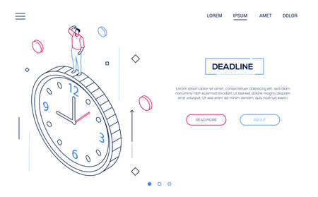 Deadline concept - line design style isometric web banner on white background with copy space for text. High quality header with businessman, male manager standing on big clock. Time management theme