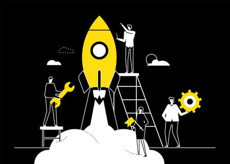 Startup - flat design style conceptual vector illustration. Black, yellow and white composition with male, female colleagues, business team launching the project, preparing rocket for a flight