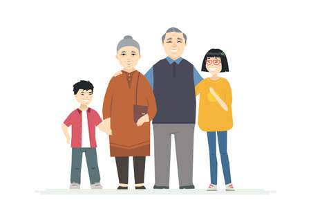 Happy Chinese grandparents - cartoon people characters illustration on white background. Smiling grandmother and grandfather hugging their grandchildren, standing together. Family concept Banque d'images - 128175855