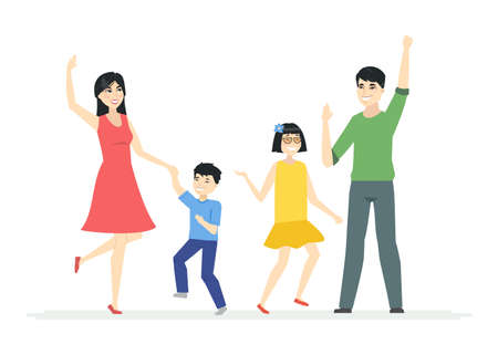 Happy Chinese family dancing - modern cartoon people characters illustration on white background. A young parents, mother and father with two children, boy and teenage girl moving, laughing together