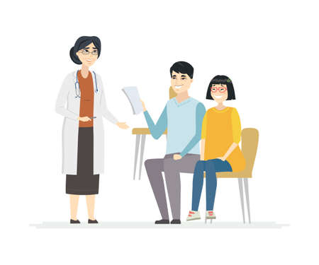 Father with daughter at doctors - cartoon people characters illustration on white background. A scene with a Chinese family. Young parent with a teenage girl consulting with a senior female physician