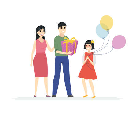 Happy birthday - cartoon people characters isolated illustration on white background. A composition with Chinese family, parents congratulating a daughter, giving a present, a girl holding balloons Banque d'images - 128175861