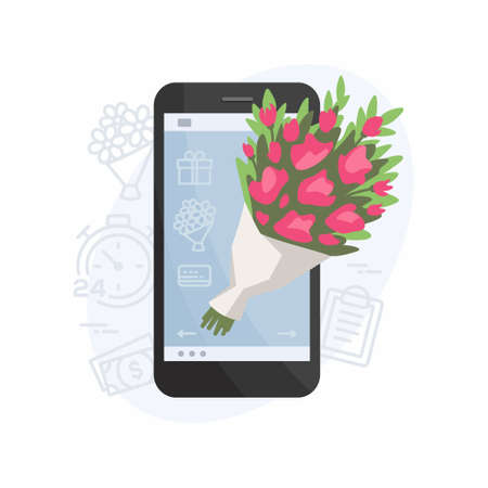 Flower delivery mobile app - modern vector illustration on white background. High quality colorful composition with a beautiful bouquet on a smartphone screen, service for choosing and ordering plants Vettoriali