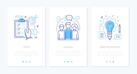 Bildung - Reihe von vertikalen Web-Bannern im Liniendesign-Stil auf weißem Hintergrund mit Kopienraum für Text. Bilder einer Checkliste, Zielscheibe, Schüler, Glühbirne. Tests, Gruppen, kreative Prozesskonzepte