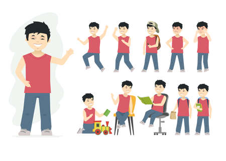 Chinese boy - vector cartoon people character set isolated on white background. A kid showing different emotions, happy or sad, playing with toys, reading books, going to school, sitting and standing