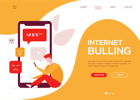 Internet bullying - colorful flat design style web banner with copy space for text. A composition with a sad boy getting nasty messages on his smartphone. Problems at school, safety concept
