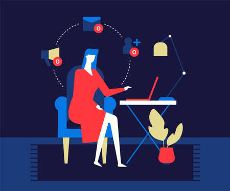 Loneliness on the Internet - modern colorful flat design style illustration. A sad girl sitting at the desk, having zero friends, messages and notifications on her social network on laptop Ilustração Vetorial