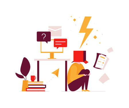 Job burnout - modern flat design style illustration. An unusual composition with a tired office worker with a box on his head, having too much work, hiding under the table. Stress at work concept