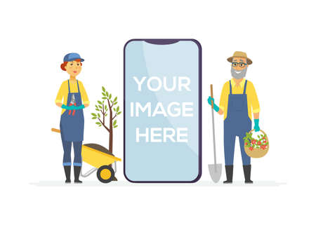 Gardeners with tools - cartoon people characters illustration. Workers in overalls work in the garden, city park, standing with spade, pruner, barrow, plant. A smartphone with place for your image